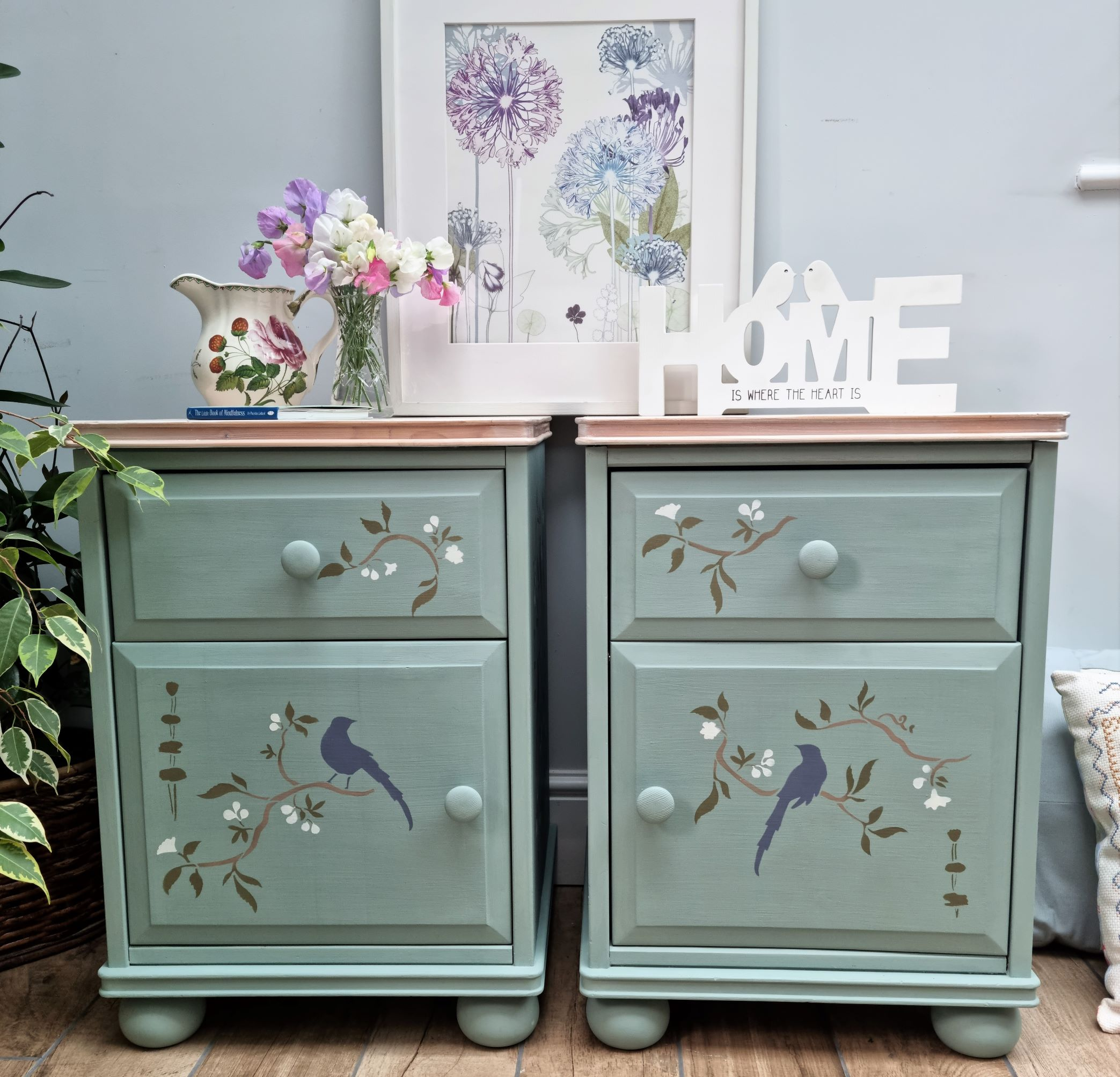 Painted upcycled bedside cabinet table chinoiserie No 1